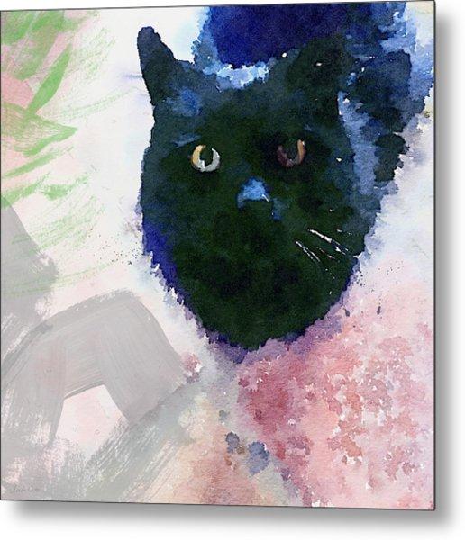 Garden Cat- Art By Linda Woods Metal Print