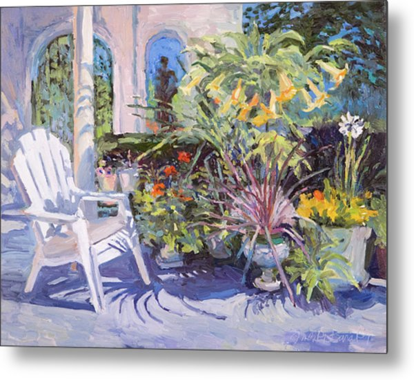 Garden Chair In The Patio Metal Print