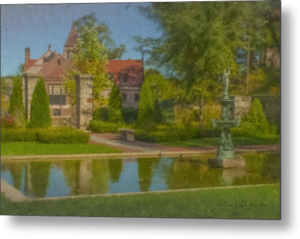 Garden Fountain At Ames Free Library Metal Print
