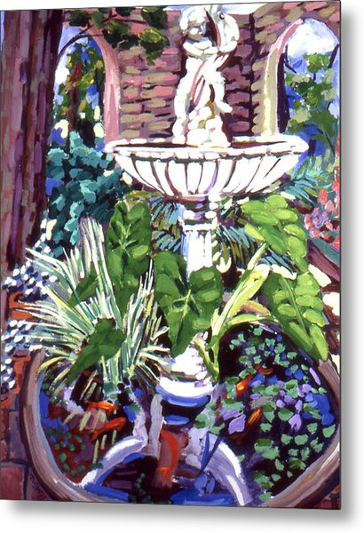 Garden Fountain Metal Print