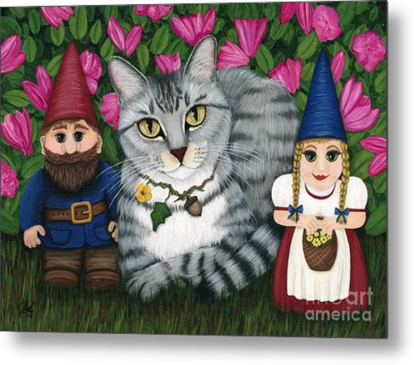 Garden Friends - Tabby Cat And Gnomes Metal Print