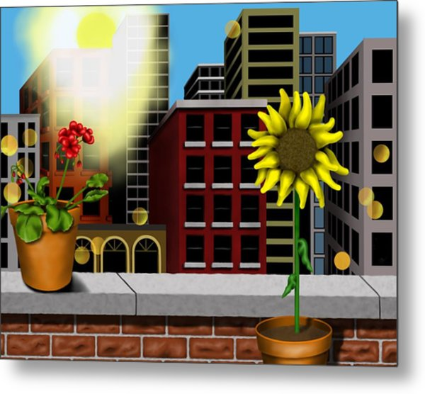 Garden Landscape II - Across The Urban Jungle Metal Print