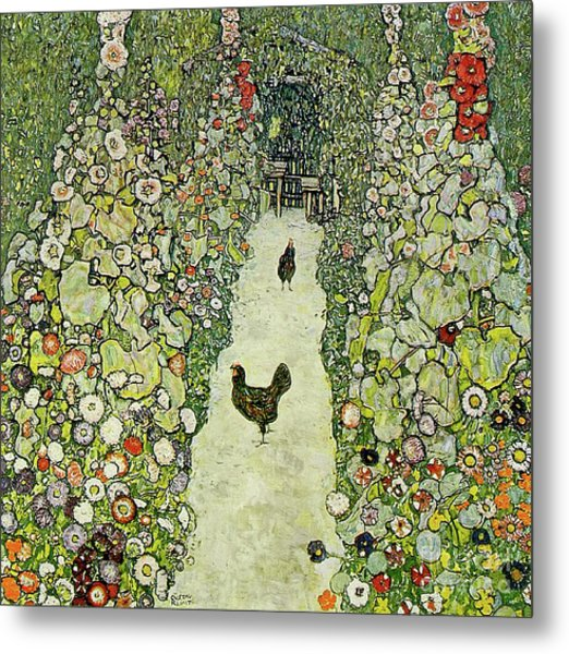 Garden With Chickens Metal Print