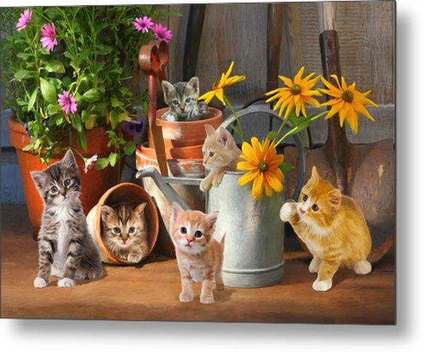 Gardening Kittens Metal Print