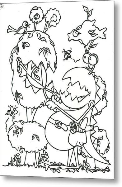 Gardening Monster Metal Print