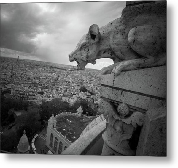 Gargoyle Hungry For The Eiffel Tower Metal Print