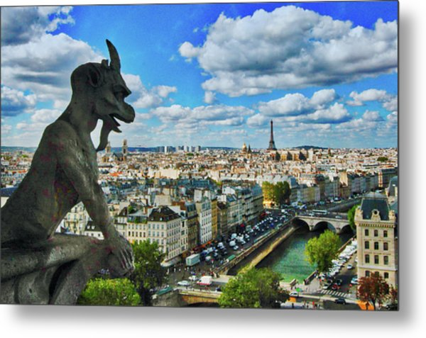 Gargoyle With A View Metal Print