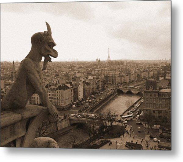 Gargoyle Looking Over Paris Metal Print