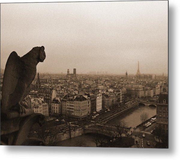 Gargoyle Over Paris Metal Print