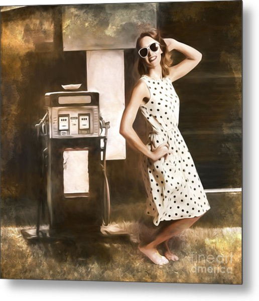 Gas And Oil Painting Pinup  Metal Print