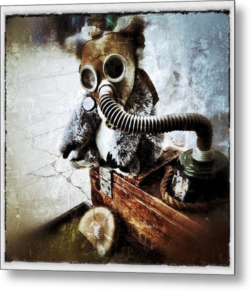 Gas Mask Koala Metal Print
