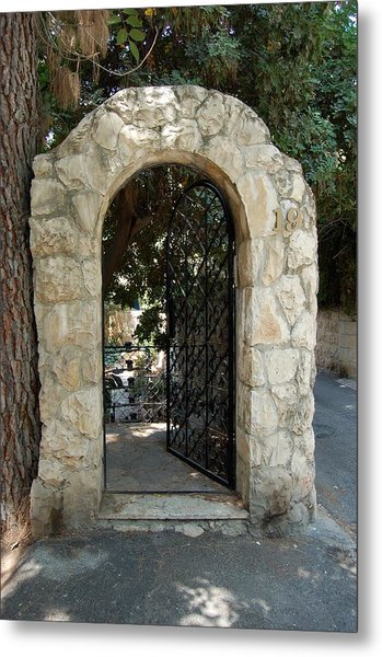 Gate In Rehavia I Metal Print by Susan Heller