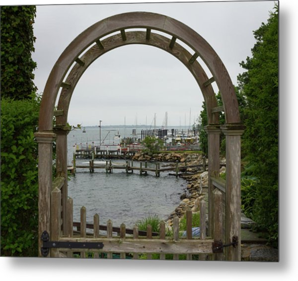 Gate To Noank Harbor Metal Print