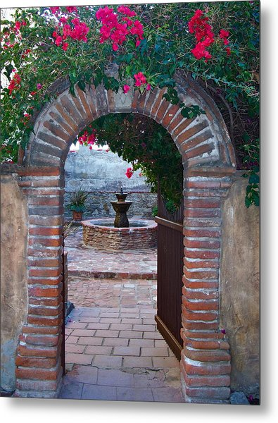 Gate To The Sacred Garden And Bell Wall Mission San Juan Capistrano California Metal Print