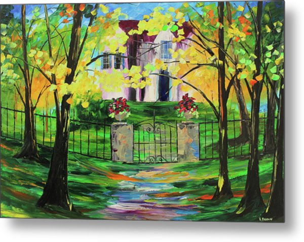 Metal Print featuring the painting Gated House by Kevin Brown