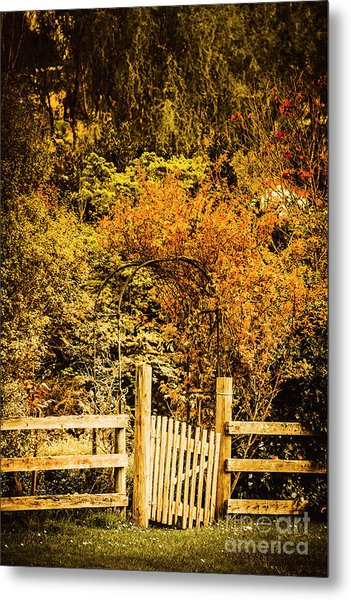 Gates In Fall Metal Print