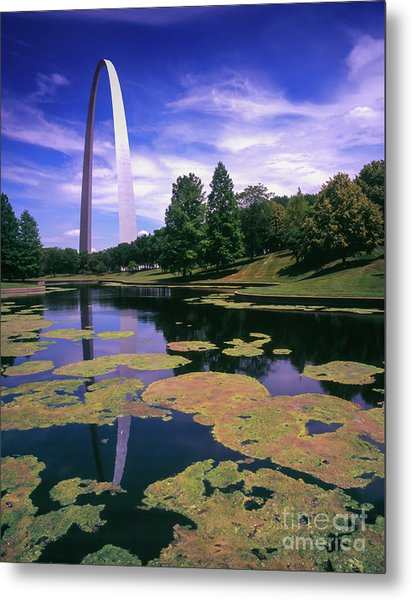 Gateway Arch Pond Reflection Metal Print