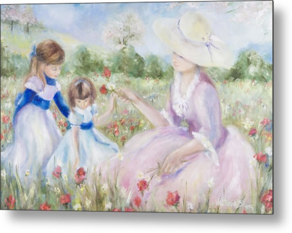 Gathering Flowers Metal Print by Victoria  Shea