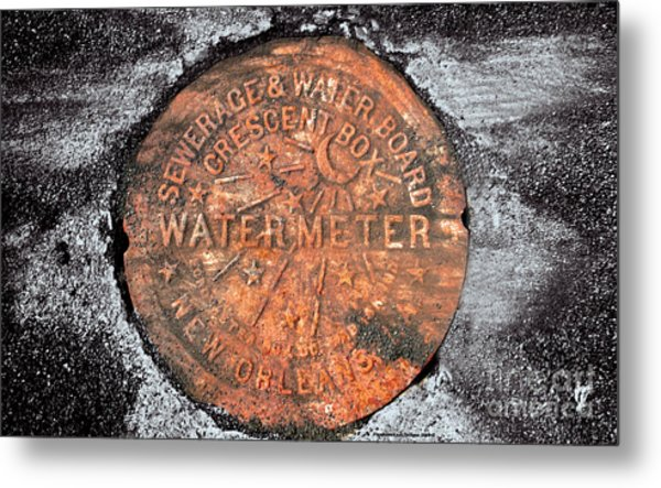 New Orleans Water Meter Cover 9 Months After Katrina Metal Print by Pringle Teetor