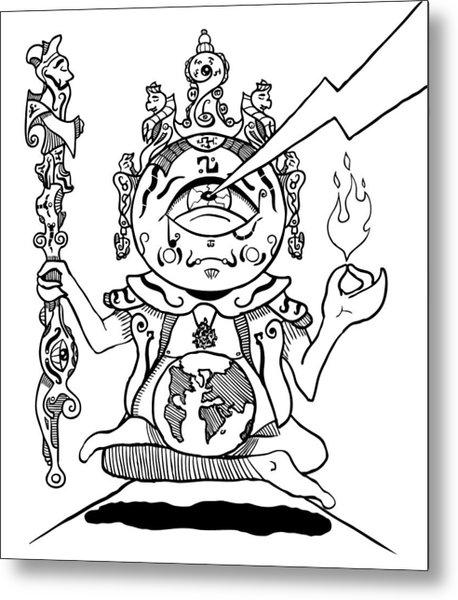 Gautama Buddha Black And White Metal Print