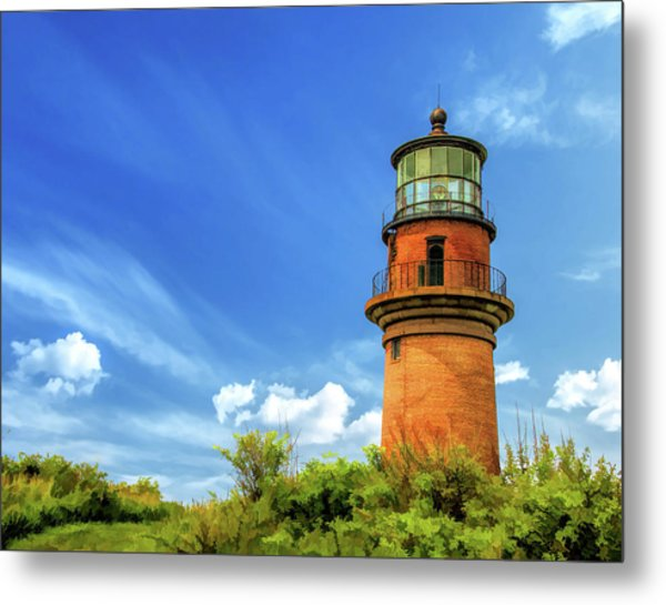 Metal Print featuring the painting Gay Head Lighthouse by Christopher Arndt