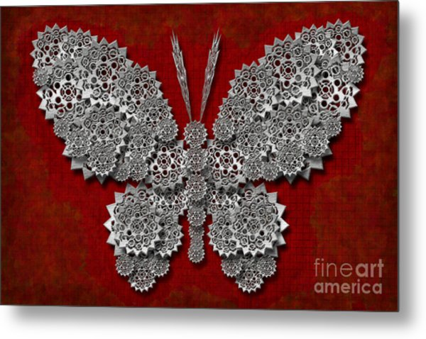 Gear Butterfly Metal Print