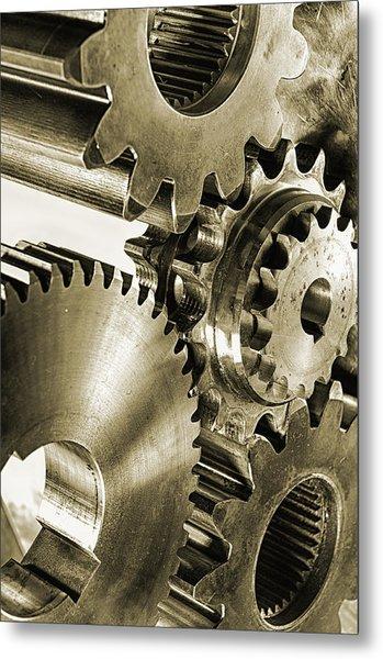 Gears And Cogwheels In Antique Look Metal Print