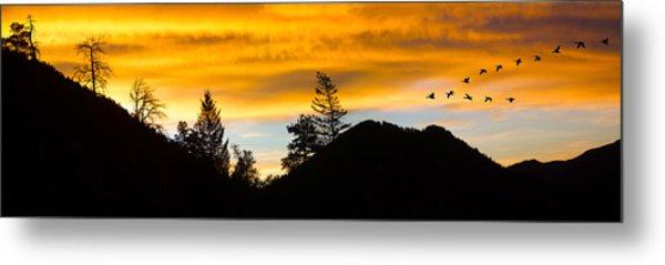 Geese At Sunrise Metal Print