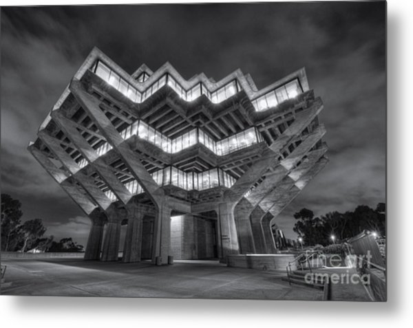 Geisel Library In Black And White Metal Print