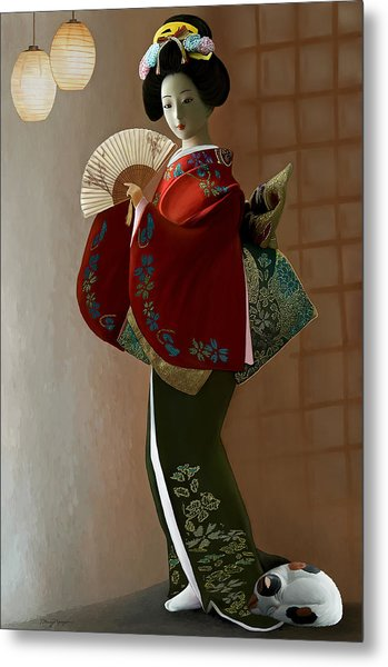 Geisha And Cat Metal Print by Thanh Thuy Nguyen