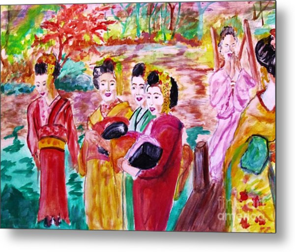 Geisha Girl Friends Metal Print