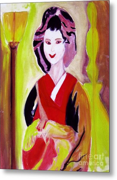 Geisha Girl Portrait Painted With Picasso Style Metal Print