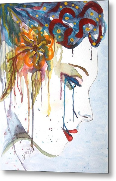 Geisha Soul Watercolor Painting Metal Print
