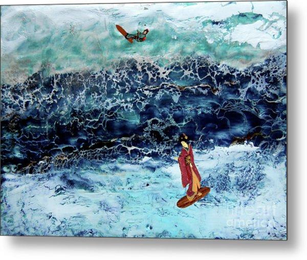 Geisha Surfing  Metal Print by Andy  Mercer