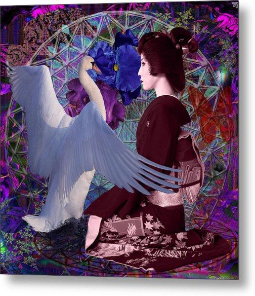 Geisha Swan Dance Metal Print
