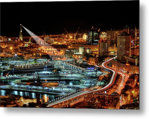 Genoa And The Lighthouse By Night - Genova E La Sua Lanterna  Metal Print