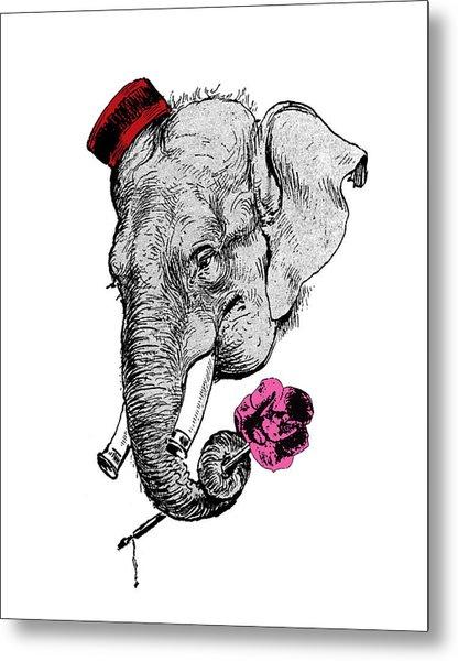 Gentleman Elephant With Pink Rose Metal Print