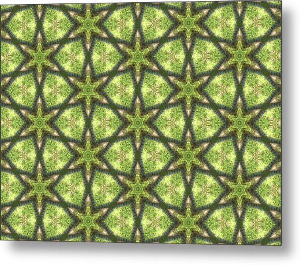 Geo Stars In Greens Metal Print