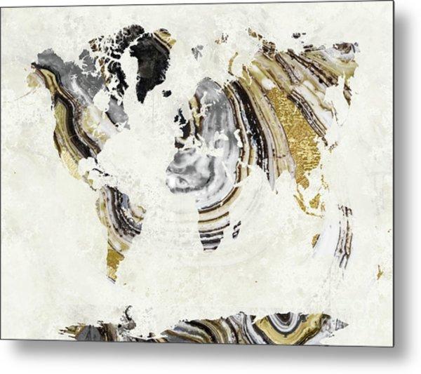 Geode Gem World Map Metal Print