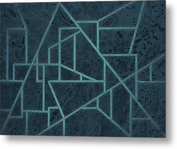 Geometric Abstraction In Blue Metal Print