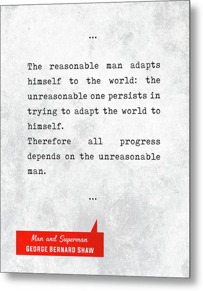George Bernard Shaw Quotes - Man And Superman - Literary Quotes - Book Lover Gifts - Typewriter Art Metal Print