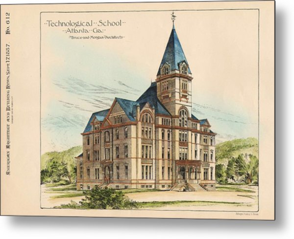Georgia Technical School. Atlanta Georgia 1887 Metal Print by Bruce and Morgan
