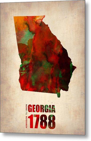 Georgia Watercolor Map Metal Print