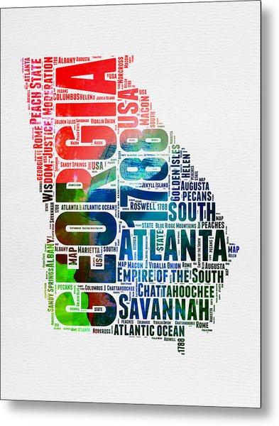 Georgia Watercolor Word Cloud Map  Metal Print
