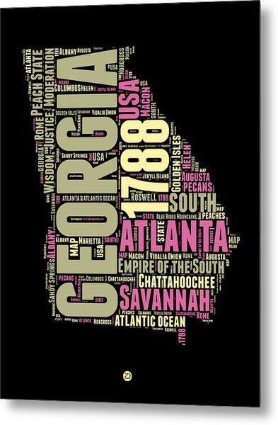 Georgia Word Cloud Map 1 Metal Print