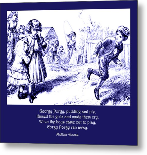 Metal Print featuring the painting Georgy Porgy Mother Goose Illustrated Nursery Rhyme by Marian Cates