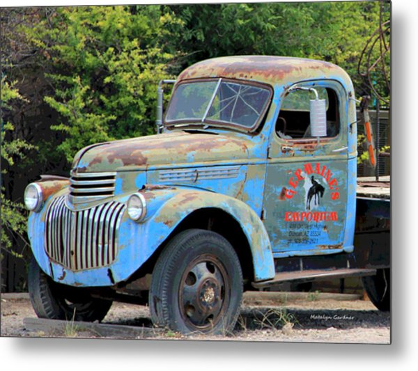 Metal Print featuring the photograph Geraine's Blue Truck by Matalyn Gardner
