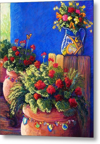 Geraniums And Talavera Metal Print by Candy Mayer