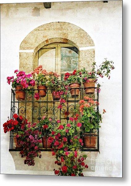 Geraniums On Balcony Metal Print