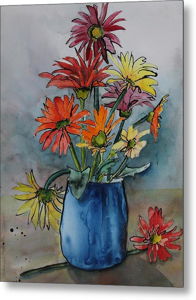 Gerberas In A Blue Pot Metal Print